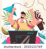 sport fan man character sitting ... | Shutterstock .eps vector #2010121769