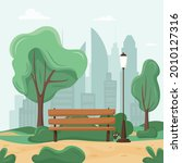 city park concept. trees and...   Shutterstock .eps vector #2010127316