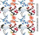 crane and sakura. seamless... | Shutterstock . vector #201013220