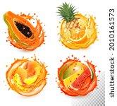 set of fruit juice splash.... | Shutterstock .eps vector #2010161573