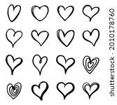 heart doodles set. hand drawn... | Shutterstock .eps vector #2010178760