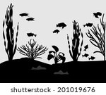 silhouettes of fishes and algae ... | Shutterstock .eps vector #201019676
