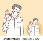 young man is wearing face mask...   Shutterstock .eps vector #2010212429