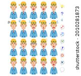20 different facial expressions ... | Shutterstock .eps vector #2010281873