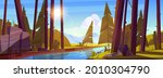 summer forest with river and... | Shutterstock .eps vector #2010304790