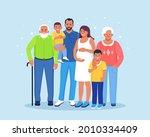 happy big family standing... | Shutterstock .eps vector #2010334409