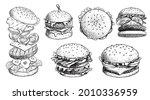 hand drawn sketch style burgers ... | Shutterstock .eps vector #2010336959
