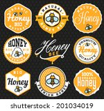 honey labels and badges in... | Shutterstock .eps vector #201034019
