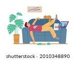 lazy man cartoon character... | Shutterstock .eps vector #2010348890