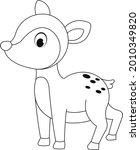 The Deer Outline Cartoon Vector ...