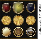 golden shields  laurels and... | Shutterstock .eps vector #201036860