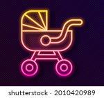 glowing neon line baby stroller ... | Shutterstock .eps vector #2010420989