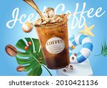 3d iced coffee ad template in... | Shutterstock .eps vector #2010421136