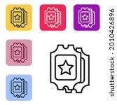 black line cinema ticket icon...   Shutterstock .eps vector #2010426896