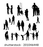 children and people silhouettes ... | Shutterstock .eps vector #201046448