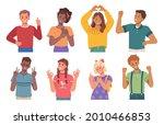 gesturing children showing... | Shutterstock .eps vector #2010466853
