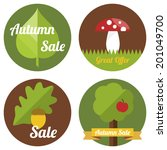 Autumn Sale Labels With Leaves  ...