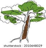 sketch of oak tree with hollow | Shutterstock .eps vector #2010648029