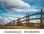 Wooden Rustic Fence In Village...