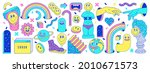 Sticker pack of funny cartoon characters, greek ancient statues, emoji and surreal elements. Vector illustration. Big set of comic elements in trendy psychedelic weird cartoon style.