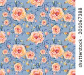 roses seamless pattern on a... | Shutterstock .eps vector #201067388