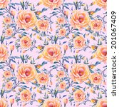 roses seamless pattern on a... | Shutterstock .eps vector #201067409