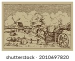 rural landscape with windmill.  ...   Shutterstock .eps vector #2010697820