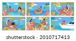 young people resting on the...   Shutterstock .eps vector #2010717413