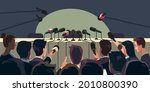 press conference table with... | Shutterstock .eps vector #2010800390