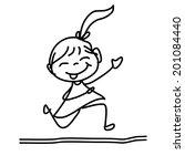 hand drawing cartoon happy kids | Shutterstock .eps vector #201084440