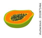 half papaya. exotic and... | Shutterstock .eps vector #2010871466