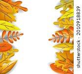 autumn leaves 3d poster  yellow ... | Shutterstock .eps vector #2010918839