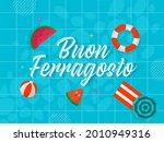 buon ferragosto font with beach ... | Shutterstock .eps vector #2010949316