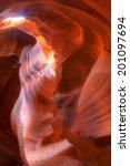 Small photo of Sun rays making Antelope Canyon glow at high noon.