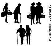 vector silhouette of old people ... | Shutterstock .eps vector #201102560