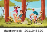 cycling family background with... | Shutterstock .eps vector #2011045820
