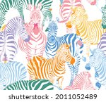 zebra safari animal wildlife... | Shutterstock .eps vector #2011052489
