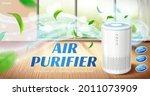 home air purifier ad. fresh air ... | Shutterstock .eps vector #2011073909