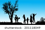 vector silhouette of children... | Shutterstock .eps vector #201118049