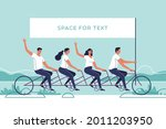 group of young people riding a...   Shutterstock .eps vector #2011203950