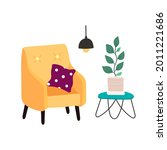 a cozy yellow armchair with a...   Shutterstock .eps vector #2011221686