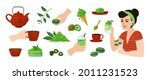 matcha food. cartoon girl with...   Shutterstock .eps vector #2011231523