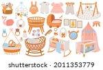 newborn accessories. nursery... | Shutterstock .eps vector #2011353779