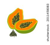 two half papaya with seeds.... | Shutterstock .eps vector #2011458083