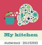 my kitchen card design. vector... | Shutterstock .eps vector #201152033