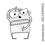 funny angry and scary alien... | Shutterstock .eps vector #2011549553