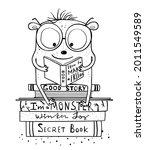 funny cute monster reading... | Shutterstock .eps vector #2011549589