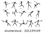 stylized soccer players  | Shutterstock .eps vector #201159149
