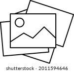 photo album icon vector line...