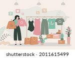 girl chooses clothes from... | Shutterstock .eps vector #2011615499